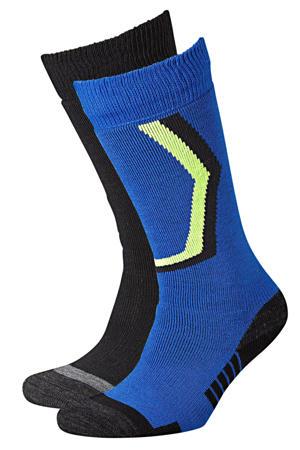 skisokken (set van 2) kobaltblauw/zwart