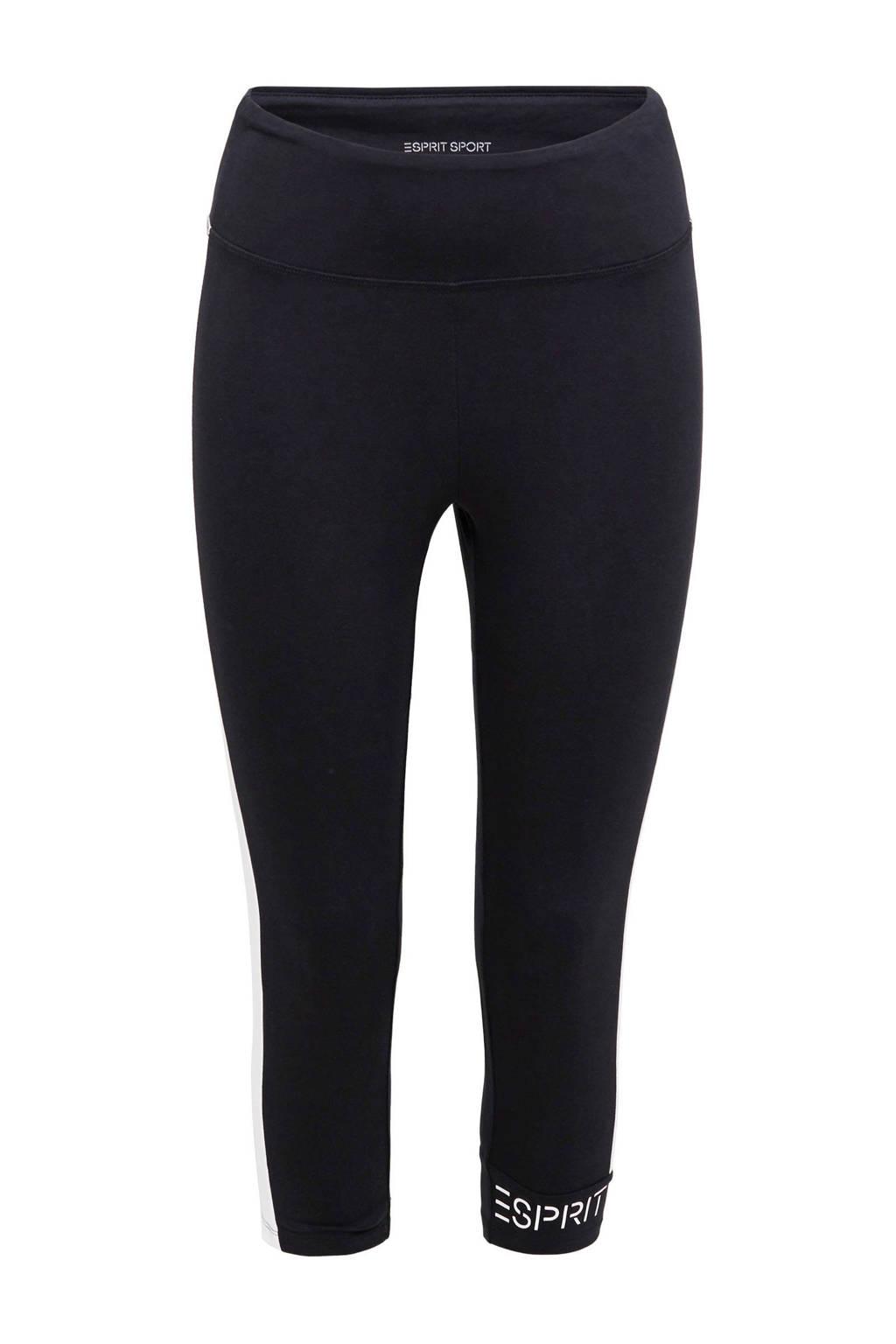 ESPRIT Women Sports 3/4 sportbroek zwart/wit, Zwart/wit