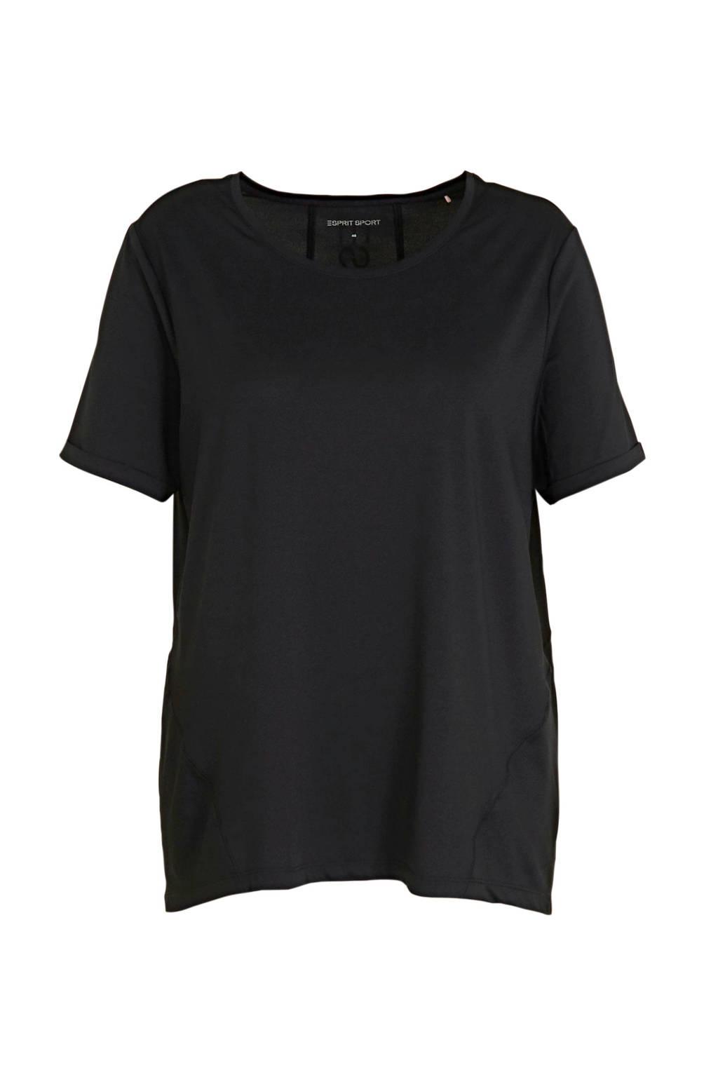 ESPRIT Women Sports Plus Size T-shirt zwart, Zwart