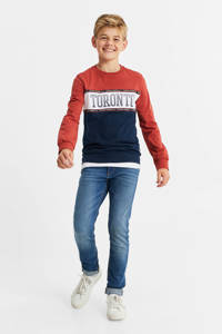 WE Fashion longsleeve met printopdruk brique/donkerblauw, Brique/donkerblauw