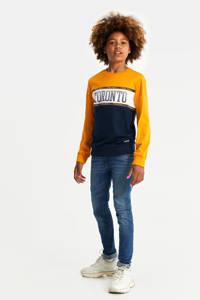 WE Fashion longsleeve met printopdruk geel/donkerblauw, Geel/donkerblauw