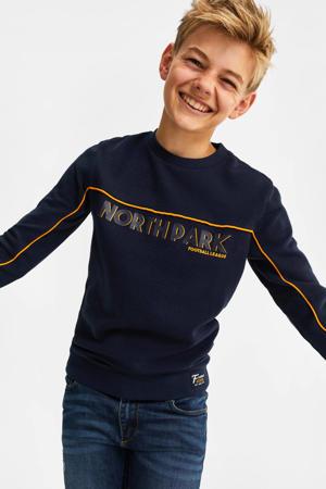ribgebreide sweater met contrastbies donkerblauw/okergeel