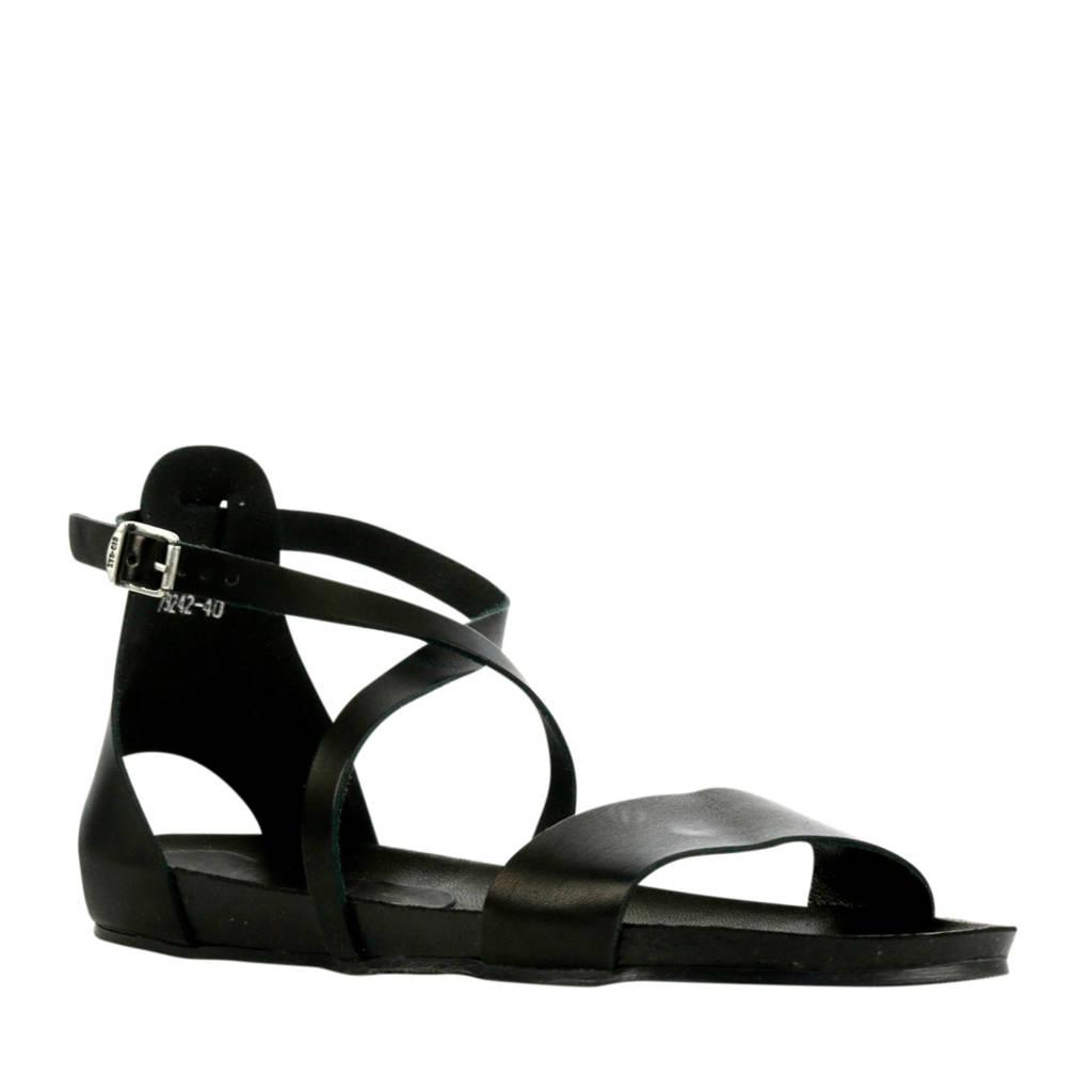 Red Rag 79242  leren sandalen zwart, Zwart