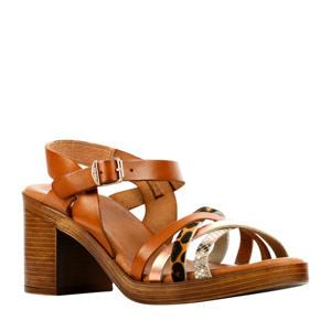 79254  leren sandalettes cognac/panterprint