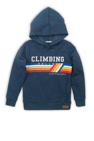 hoodie met printopdruk donkerblauw/rood/wit
