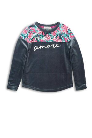 longsleeve met all over print grijs/roze/groen
