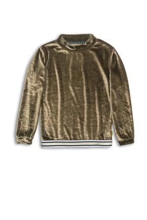 sweater met glitters goud/wit/donkerblauw