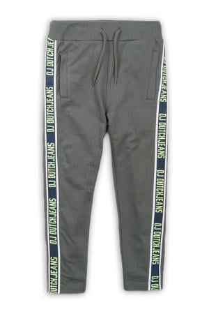 coated joggingbroek met tekst army groen/donkerblauw/wit