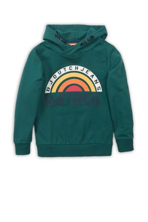 hoodie met printopdruk groen/geel/rood