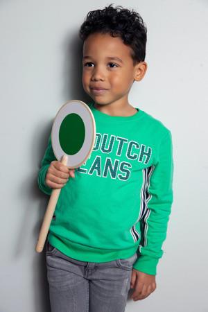 sweater met contrastbies groen/wit