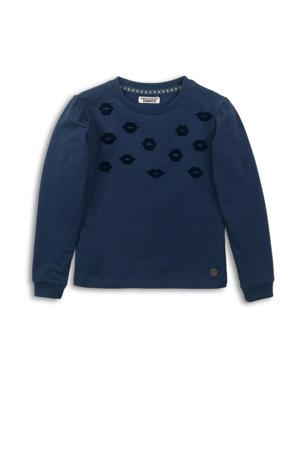 sweater met all over print en plooien donkerblauw/zwart