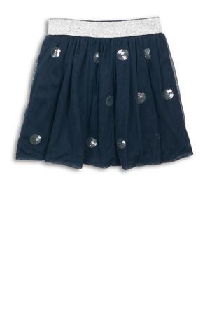 rok met pailletten donkerblauw/zilver