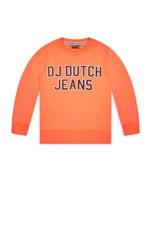 sweater met tekst oranje/donkerblauw