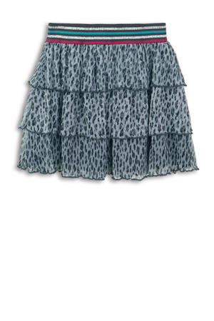 rok met all over print grijsblauw/roze/zilver
