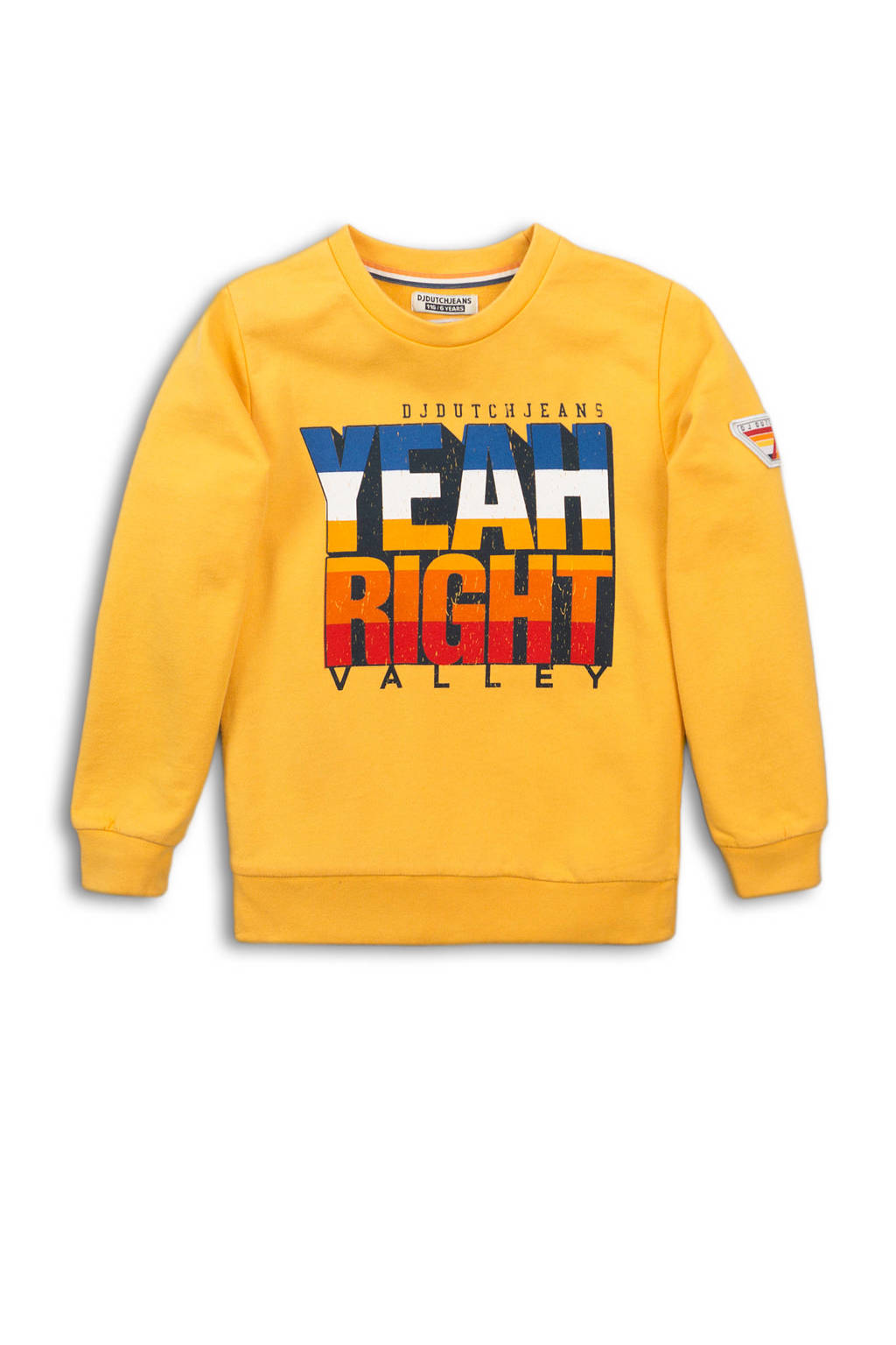 DJ Dutchjeans sweater met tekst geel/blauw/rood, Geel/blauw/rood