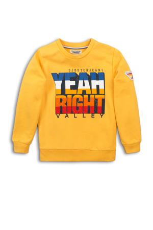 sweater met tekst geel/blauw/rood