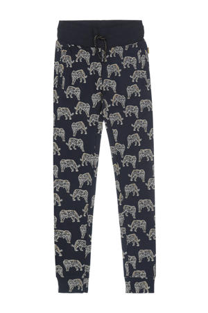 sweatpants met all over print donkerblauw/wit/goud