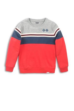 sweater rood/donkerblauw/grijs melange