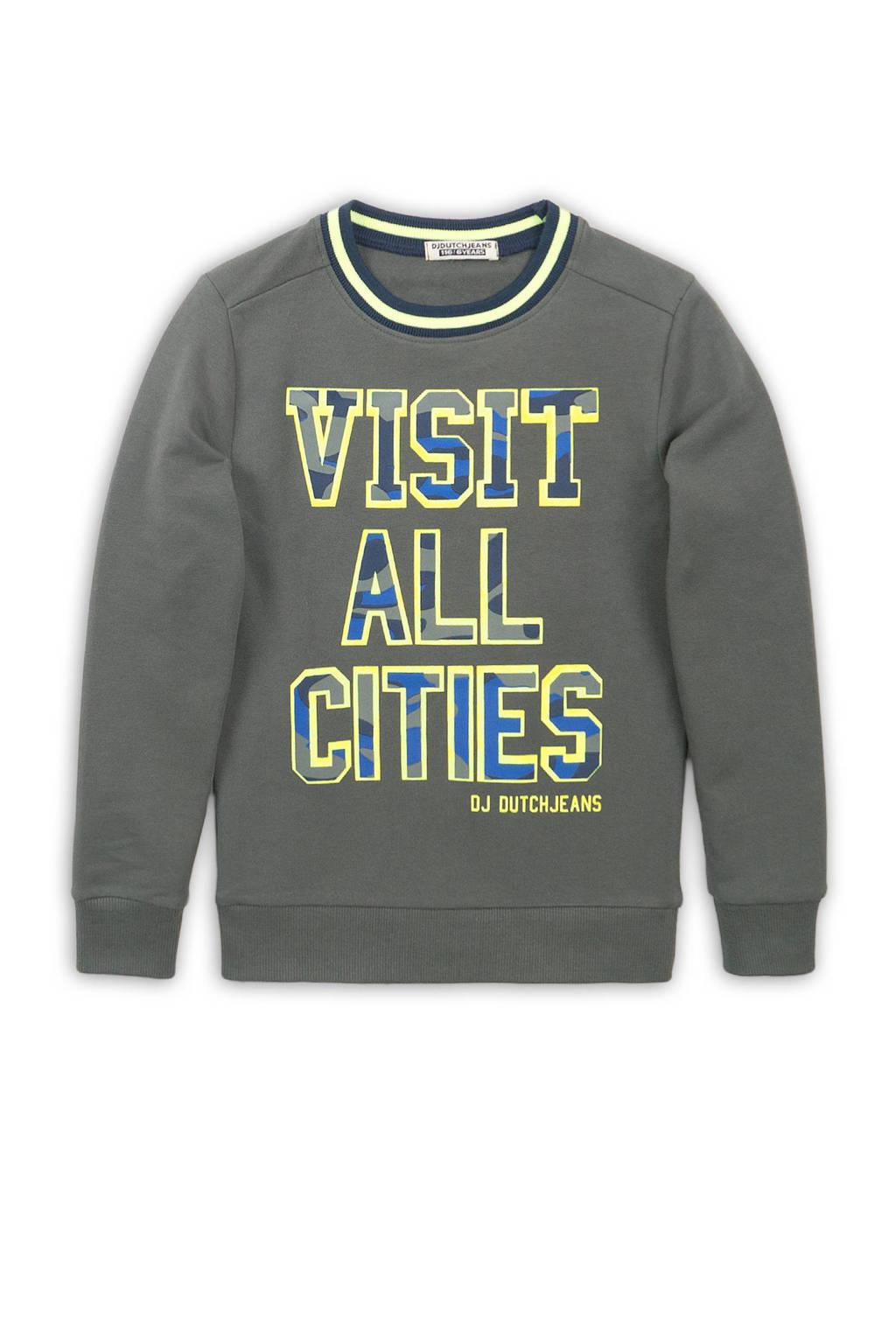 DJ Dutchjeans sweater met tekst army groen/geel/blauw, Army groen/geel/blauw