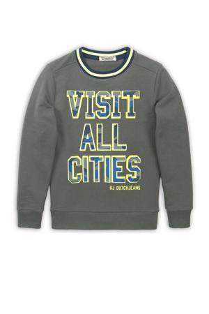 sweater met tekst army groen/geel/blauw