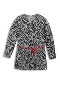 DJ Dutchjeans jersey jurk met zebraprint en contrastbies grijs melange/zwart/rood