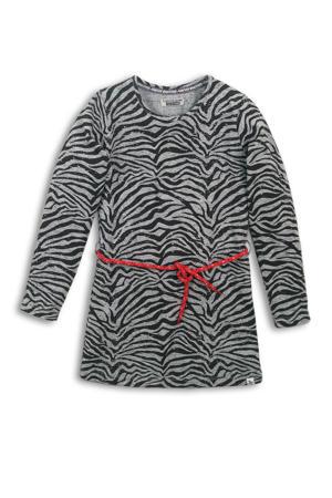 jersey jurk met zebraprint en contrastbies grijs melange/zwart/rood