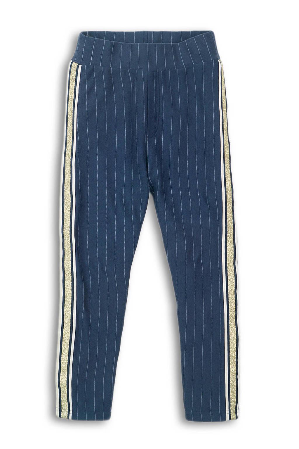 DJ Dutchjeans gestreepte broek met zijstreep donkerblauw/wit/goud