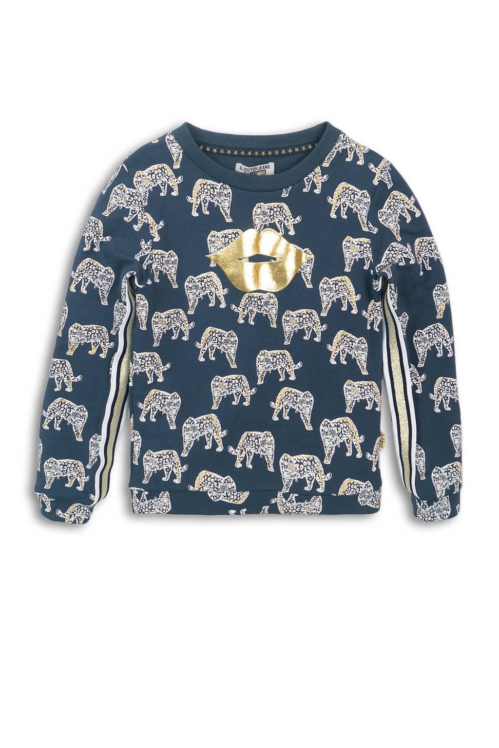 DJ Dutchjeans sweater met contrastbies donkerblauw/wit/goud