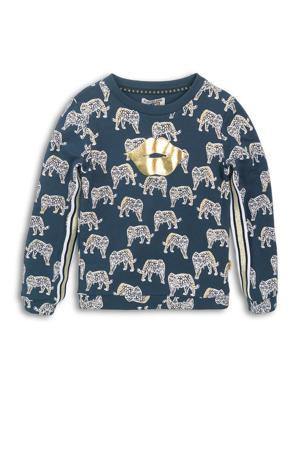 sweater met contrastbies donkerblauw/wit/goud
