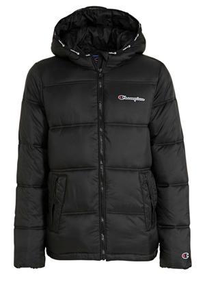 winterjas met logo zwart