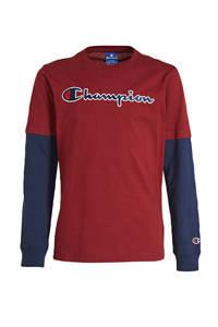 Champion longsleeve met logo donkerrood/donkerblauw, Donkerrood/donkerblauw