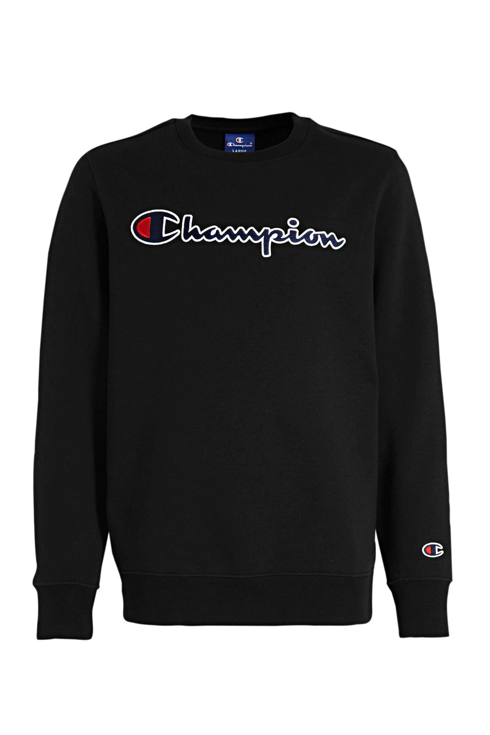 Champion sweater met logo zwart   wehkamp