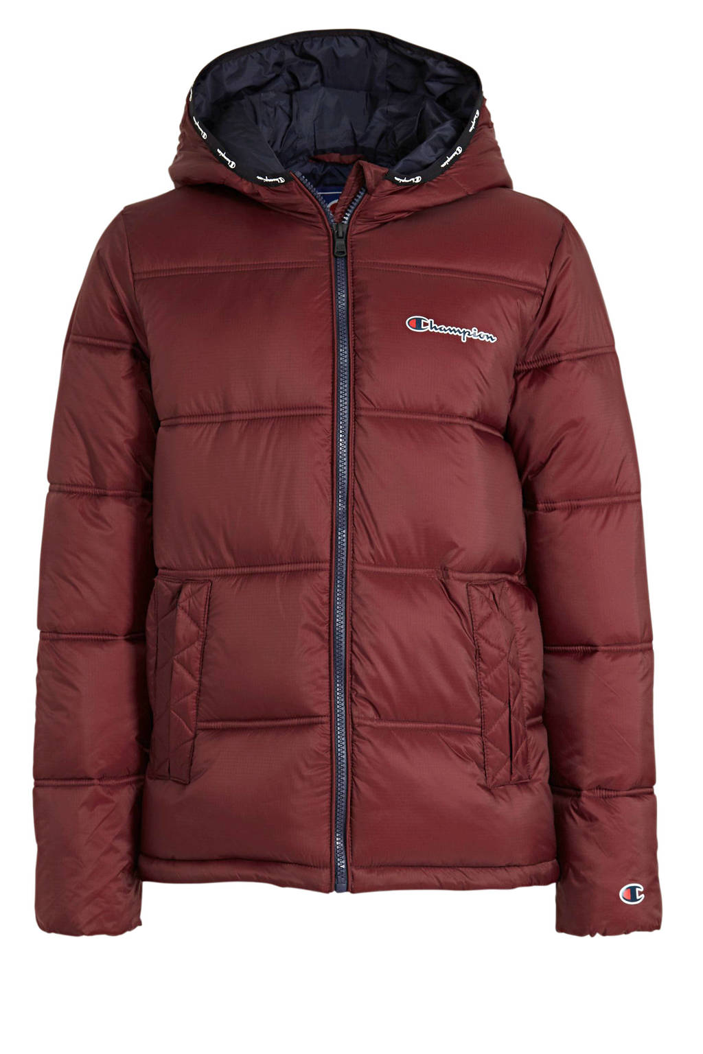 Champion winterjas met logo donkerrood, Donkerrood