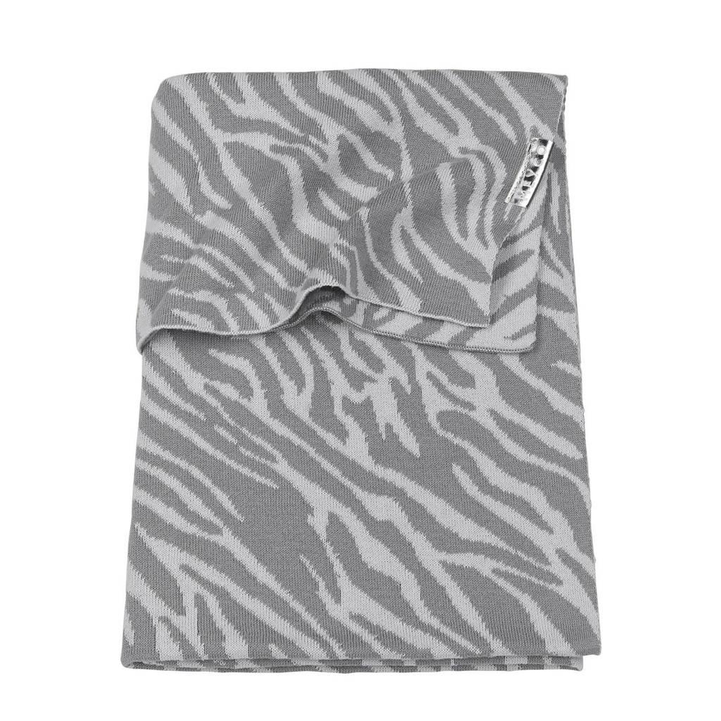 Meyco baby wiegdeken 75x100 cm zebra grijs, Grijs