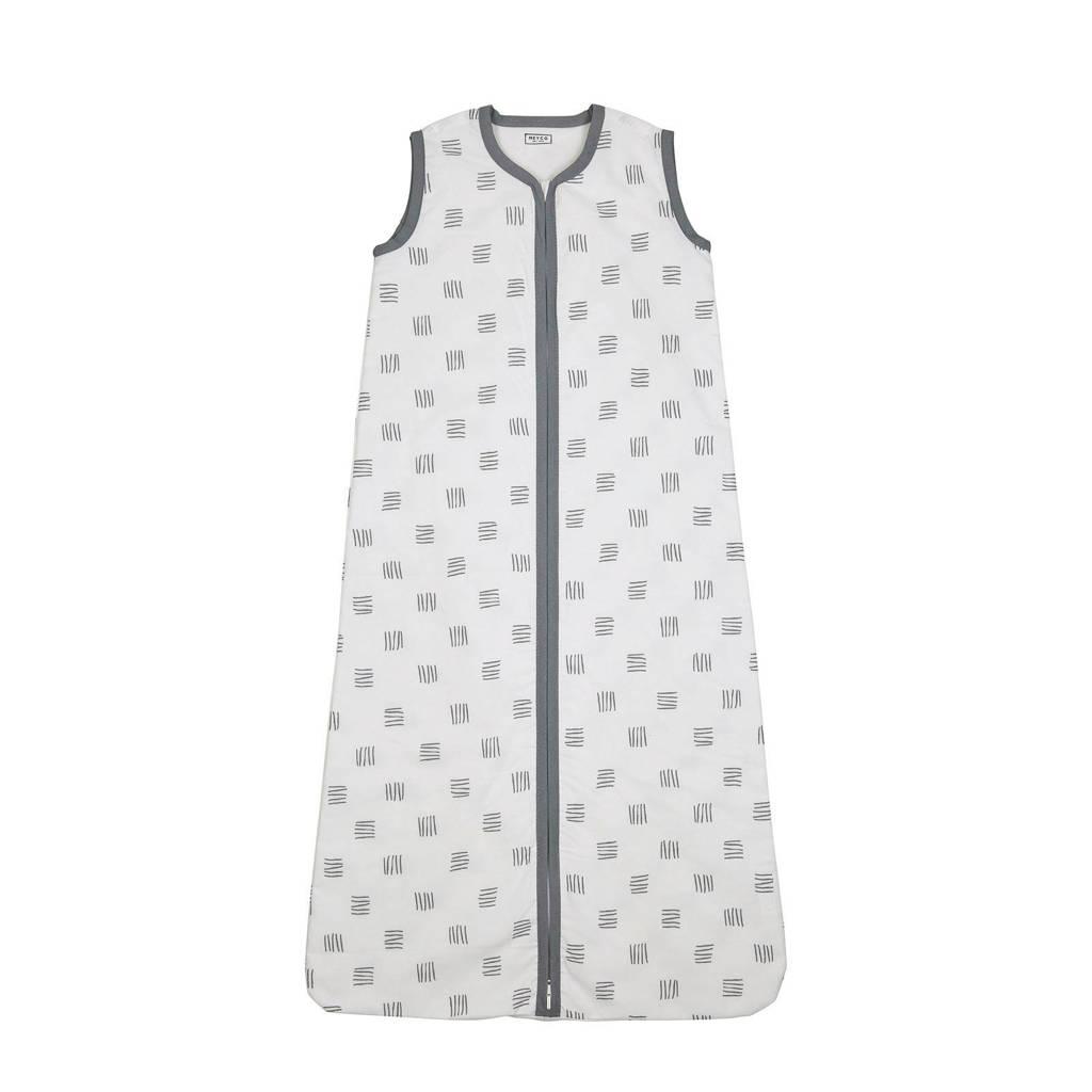 Meyco baby slaapzak zomer block stripe grijs, Wit/grijs