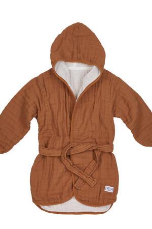 hydrofiele badjas maat 86/92 camel/offwhite