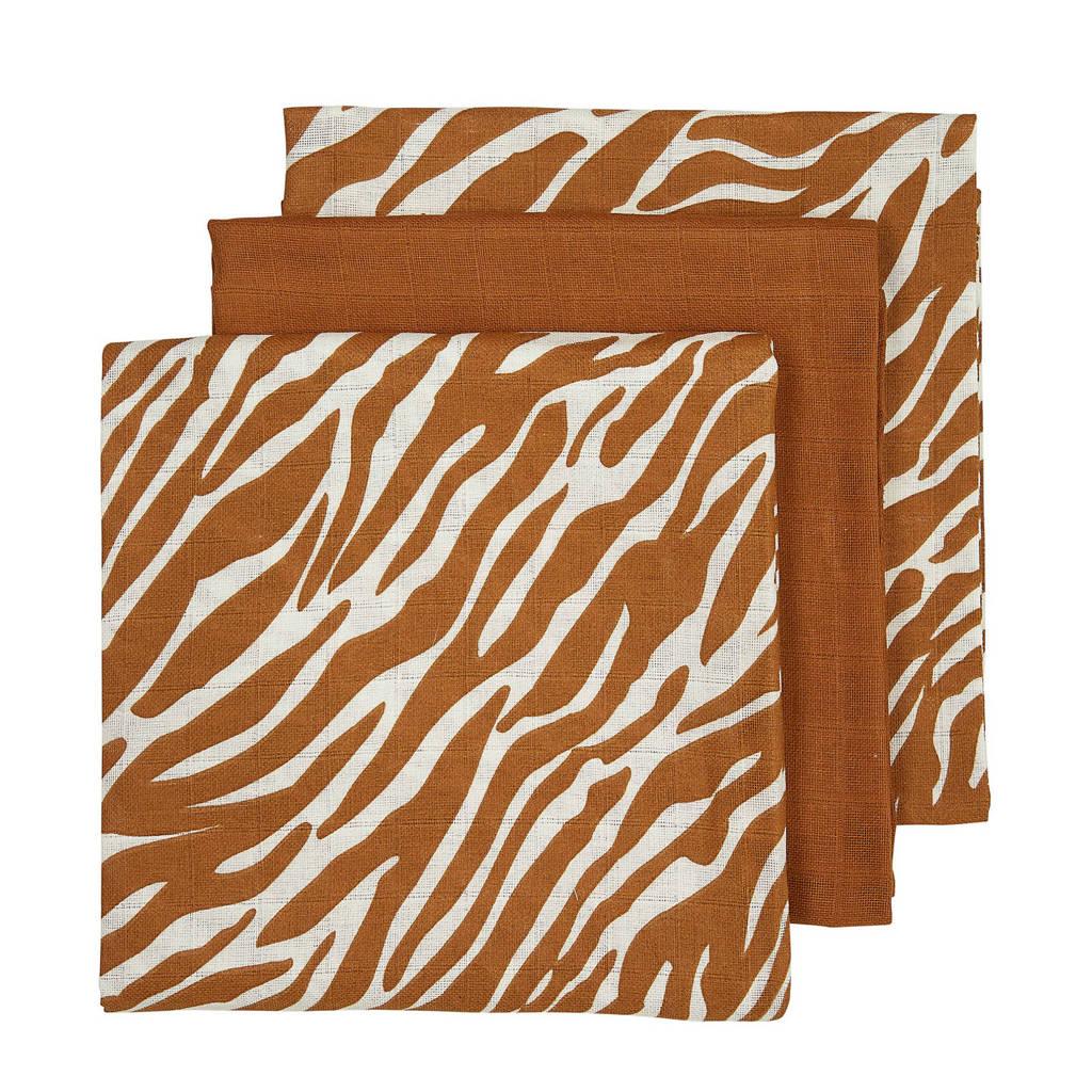 Meyco hydrofiele luiers - set van 3 zebra/uni camel, Camel/offwhite