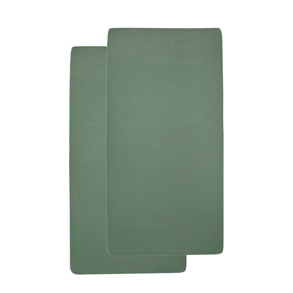 Meyco katoenen jersey baby hoeslaken wieg 40x80/90 cm - set van 2 forest green Forest green