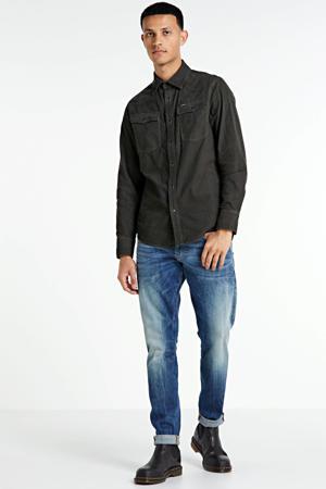 slim fit corduroy overhemd donkergroen