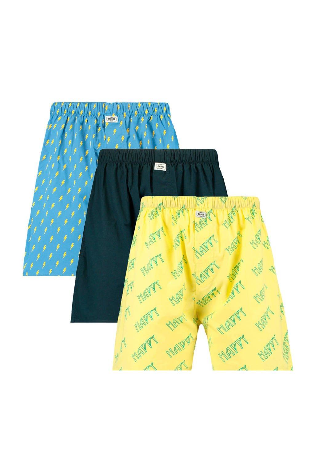 America Today boxershort (set van 3), Blauw/zwart/geel