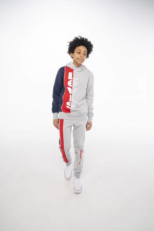 Levi's Kids joggingbroek met logo grijs melange/rood/donkerblauw
