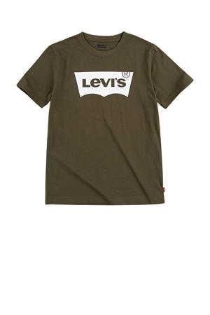 Levi's Kids T-shirt Batwing met logo olijfgroen