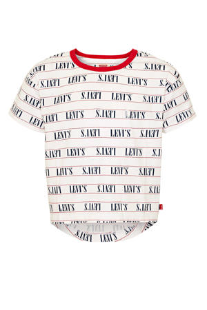 Levi's Kids T-shirt Ringer met all over print wit/rood/blauw