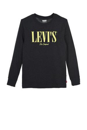 Levi's Kids longsleeve Graphic met logo zwart melange
