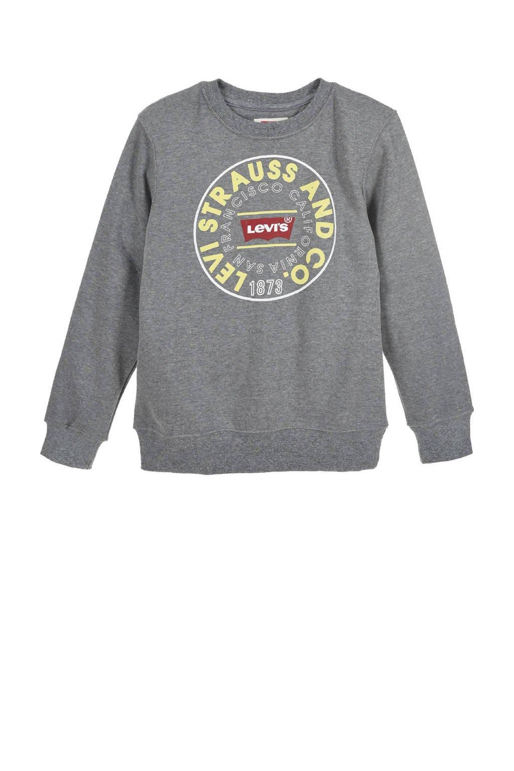 Levi's Kids sweater met logo donkergrijs melange, Donkergrijs melange