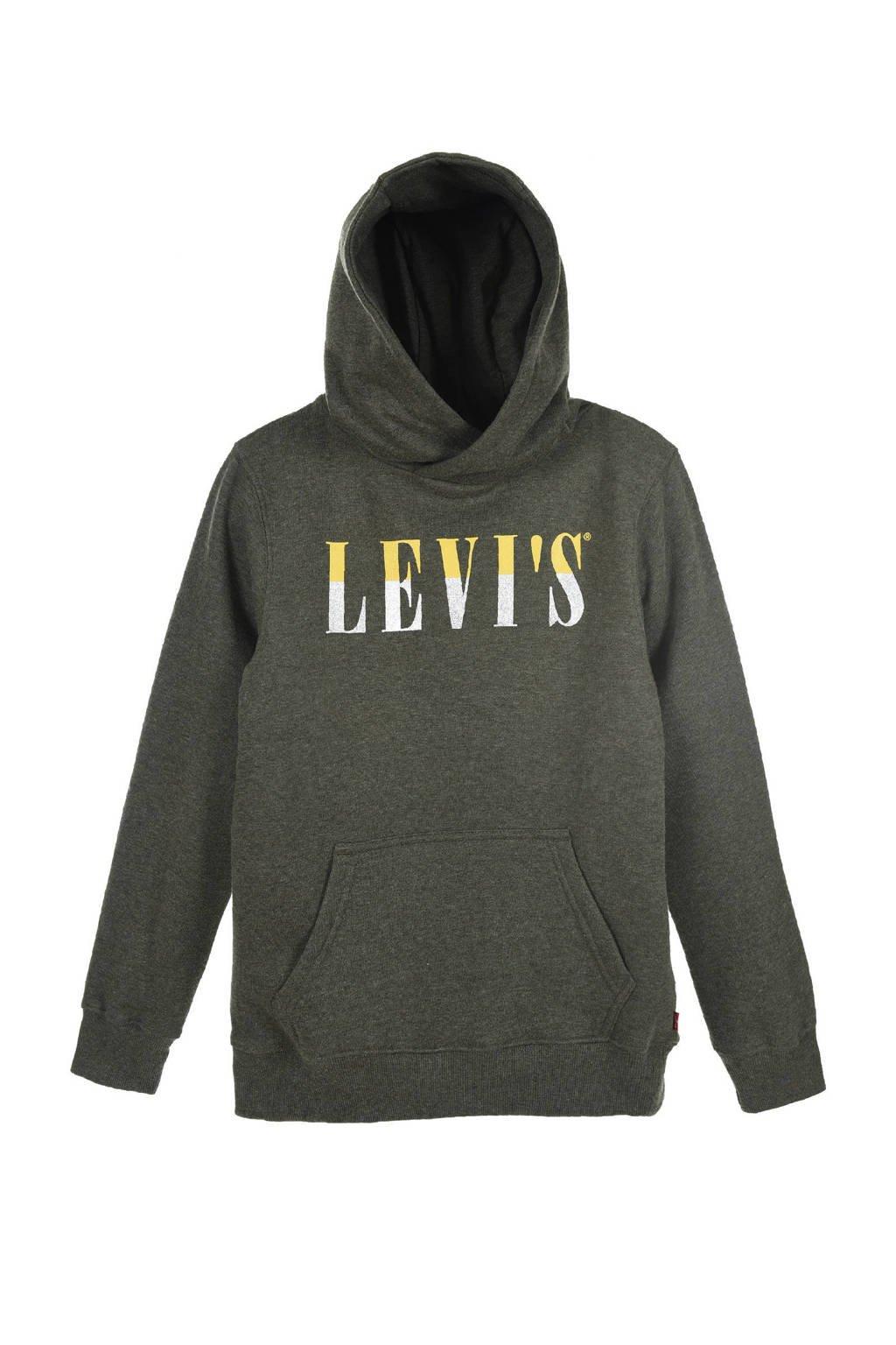 Levi's Kids hoodie met logo olijfgroen melange, Olijfgroen melange