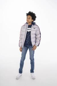 Levi's Kids gewatteerde winterjas met logo grijs/blauw, Grijs/blauw