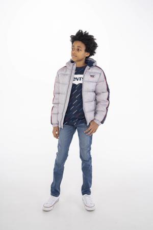 Levi's Kids gewatteerde winterjas met logo grijs/blauw