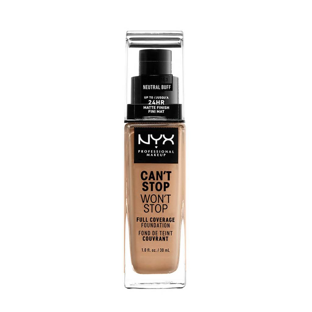 NYX Professional Makeup  en super gepigmenteerd. NYX Professional Makeup's Can't Stop Won't Stop Full Coverage foundation - Neutral Buff CSWSF10.3