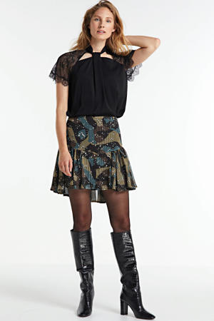 rok Velma met all over print en glitters groen